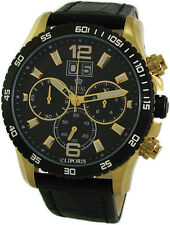 ROYAL LONDON XXL Herrenuhr Chronograph big Date gents watch schwarz gold 10ATM