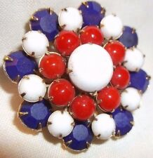 Vintage brooch OPAQUE RHINESTONE GLASS FLOWER PIN red white blue
