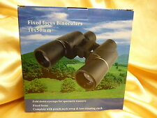 BINOCULARS 10x50 with Carry Case Neckstrap lense caps clean cloth New & Boxed