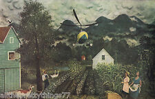FARMERS Garden Watching HELICOPTER Goat Gees Windmill Vintage MATTED Picture