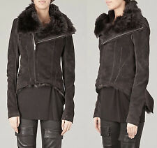 $5600 RICK OWENS Leather & Shearling Fur Biker Coat Tail Jacket Coat US 8 IT 42