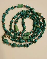 """Carolyn Pollack 36"""" Blue & Green Turquoise Chip, Nugget sterling silver Necklace"""