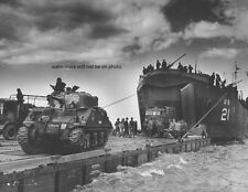 "U.S. Coast Guard USS LST-21 unloads British Army Tanks 8""x 10"" WWII Photo 321"