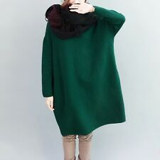 10-18 Plus Size Batwing Solid Jumper Shift Dress Women's Oversized Loose Tunic