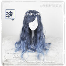 Japanese Sweet Lolita Dreamlke Harajuku Blue Gradient Fairy Cosplay Princess Wig