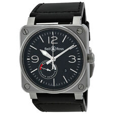 Bell and Ross Officer Automatic Black Dial Black Leather Mens Watch