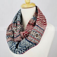 Pashmina Knit Infinity Winter Scarf Elastic Warm Geometric Pattern Circle Loop