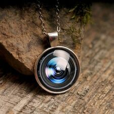 Camera lens handmade necklace brass silver plated jewelry photography pendant
