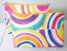 CLINIQUE Rainbow circles pattern COSMETIC CASE MAKEUP large BAG case set lot x 2