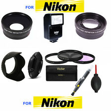 40.5MM TELEPHOTO ZOOM LENS +FLASH + WIDE ANGLE LENS + FILTER KIT FOR NIKON 1 J1