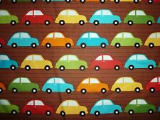 OFFCUT BRIGHT CARS TRAFFIC TRANSPORT TRAVEL FABRIC KITSCH