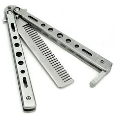 NEW Stainless Steel Training Butterfly Balisong Style Knife Comb Cool Sport