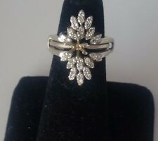 Vintage Estate 14k Diamond 2 Rings Enhancer .80 Tcw +Semi-Mount Solitaire Ring