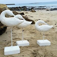 3 LARGE WHITE WOODEN CARVED SEA BIRD ORNAMENTS NAUTICAL HOME DECORATION GIFT SET