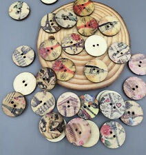 50X Retro  Eiffel Wooden Buttons Fit Sewing Scrapbooking decoration Crafts 20mm