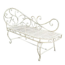Ex-Display Cream Metal Love Bench Outdoor Patio Shabby Chic French Style Seat