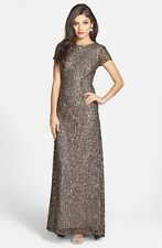 NWOT Adrianna Papell Short Sleeve Sequin Mesh Gown Dress, Lead, Size 12