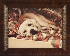 BED WARMER by Sueellen Ross FRAMED PRINT 12x15 Yellow Lab Puppy Dog Signed