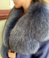 Gorgeous Lilac Leather Coat Jacket and Hat Real Fox Fur One of a Kind sz M-L