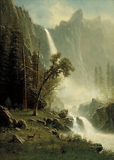Bridal Veil Falls, Yosemite by Albert Bierstadt Fine Art Giclee Canvas Print