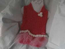 CROCHETED PINK /TULLE ROSE  DOG SWEATER IN MEDIUM