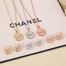 NEW 2016 letters with latest drilling hollow out M & K fashion Necklace+earrings