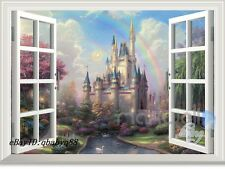 Disney Fairy Castle Rainbow 3D Window Wall Decals Removable Stickers Kids Decor