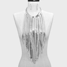 Oversized Silver Metal Flat Snake Herringbone Chain Fringe Body Bib Necklace