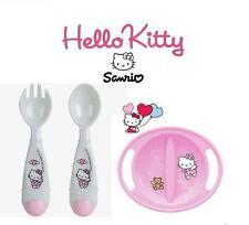 Set of 2 Hello Kitty Pink Girls Newborn Baby Feeding Plate Cutlery Set BPA Free