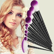 10Pcs Pro UniCorn Purple White Nylon Hair Black Handle Makeup Cosmetic Brushes Y