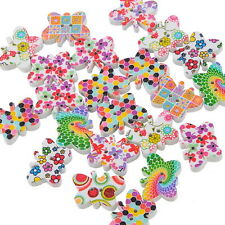 25PCs Mixed 2 Holes Butterfly Wooden Buttons Fit Sewing DIY Scrapbook 19x14mm