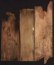 3 Wide Rustic Wood Barn Boards, Weathered Reclaimed Antique Lumber (1916)