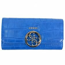 Guess Women's Devyn Cobalt Crocodile Clutch Tri-Fold Wallet