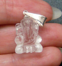 HAND-CRAFTED NATURAL QUARTZ GOD GANESH CARVING AMULET PENDANT w/ 925 SILVER BALE