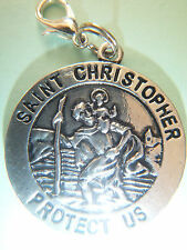 TIBETAN SILVER DOUBLE SIDED ST CHRISTOPHER 'PROTECT US' MEDAL GIFTBAG TRAVEL