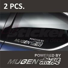 2 pcs. Powered by HONDA MUGEN Window Decal sticker emblem logo Silver