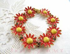 VIntage Red Enamel Daisy Flower Yellow Centers Bracelet signed WEISS