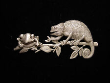 """JJ"" Jonette Jewelry Silver Pewter 'LIZARD & Frog on Branch' Pin"