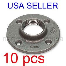 "10 pcs 3/4"" BLACK MALLEABLE IRON FLOOR FLANGE FITTING PIPE NPT"