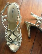 FIONI NIGHT METALLIC HEELS-GOLD,Size 8