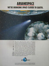 2/1991 PUB ARIANESPACE ARIANE 4 EARTH TV SATELLITE SPACE ESPACE ORIGINAL AD
