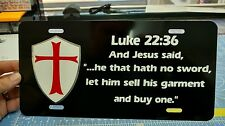 Christian shield Knights Templar Luke 22:36 Bible Black car tag license plate