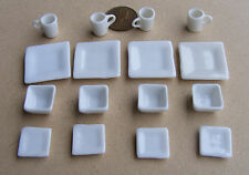 1:12 Ceramic 16 Piece White Square Dolls House Miniature Ceramic Tea Set 2196
