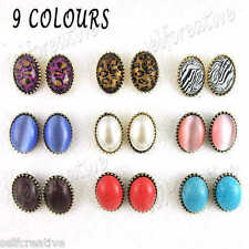 Mixed Lots 9 PAIRS Colored leopard Print Cats Eye Stone Earrings Ear Post Studs