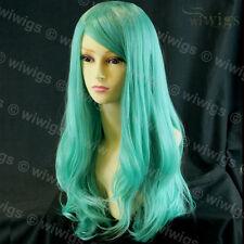 Wiwigs Long Layered Wavy Mint Green Cosplay Heat Resistant Ladies Wig