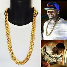 """SALE~! 30"""" 14K YELLOW GOLD FINISH 15mm STAINLESS STEEL MIAMI CUBAN LINK CHAIN"""