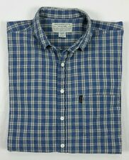 Abercrombie & Fitch Mens BIG SHIRT Blue Plaid Long Sleeve Button Shirt Large