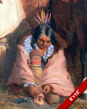 NATIVE AMERICAN INDIAN TYING MOCCASIN SHOES PAINTING ART REAL CANVAS PRINT