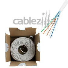 CAT5E FTP STP SHIELDED WHITE BULK CABLE SOLID WIRE ETHERNET LAN NETWORK 1000ft