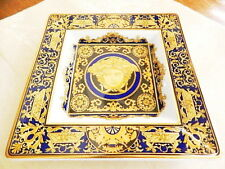 """VERSACE by Rosenthal MEDUSA BLUE Square Candy Dish Tray Plate  5 1/4"""" - NEW!"""